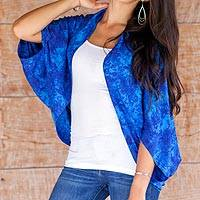 Rayon jacket, 'Lovina Blue' - Hand Stamped Rayon Batik Shrug Jacket in Royal Blue