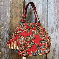 Beaded cotton batik handbag Red Peacock Indonesia