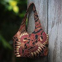 Beaded cotton batik shoulder bag, 'Black Sawunggaling' - Beaded Batik Black and Burgundy Cotton Shoulder Bag