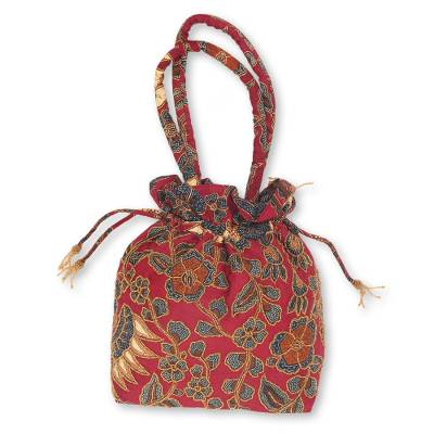 Beaded Red Cotton Batik Shoulder Bag from Indonesia