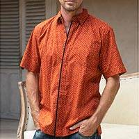 Men's cotton shirt, 'Rambutan' - Men's Orange Cotton Short Sleeve Shirt with Hidden Buttons