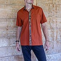Men's cotton batik shirt, 'Russet Reserve' - Russet Color Cotton Batik Short Sleeve Shirt for Men