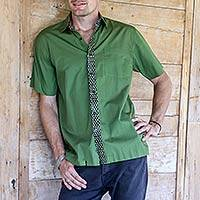 Men's cotton batik shirt, 'Green Trendsetter' - Button Down Cotton Batik Short Sleeve Green Shirt for Men