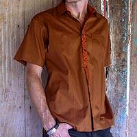 Men's cotton batik shirt, 'Rust Trendsetter' - Rust Brown Cotton Batik Button Down Shirt for Men