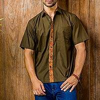 Men's cotton batik shirt, 'Olive Reserve' - Men's Olive Brown Cotton Batik Short Sleeve Button Shirt