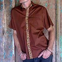 Men's cotton batik shirt, 'Brown Wilderness' - Hand Stamped Batik Accents on Brown Cotton Shirt For Men