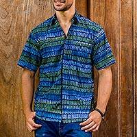 Men's cotton batik shirt, 'Oceanic Voyager' - Men's Blue Cotton Button Down Shirt with Hand Stamped Batik