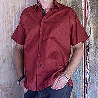 Men's cotton shirt, 'Crimson Dragonfly' - Men's Crimson Hand Stamped All Cotton Short Sleeved Shirt