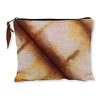 Hand dyed cotton clutch handbag, 'Jogjakarta Brown' - Artisan Crafted Canvas Tie Dye Cotton Clutch Bag