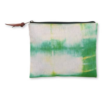 Canvas Tie Dye Cotton Clutch Bag in Green on Ivory