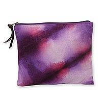 Hand dyed cotton clutch handbag Jogjakarta Orchids Indonesia