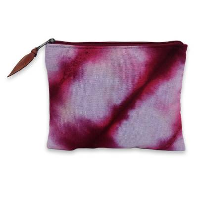 Hand dyed cotton clutch handbag, 'Jogjakarta Passion' - Artisan Crafted Canvas Tie Dye Cotton Clutch Bag
