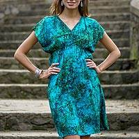 Batik rayon dress, 'Rainforest Green' - Artisan Crafted Fresh Green Blue Batik Rayon Short Dress