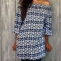 Rayon tunic, 'Candidasa Blue' - Elastic Neck Blue and White Tunic with Bell Sleeves
