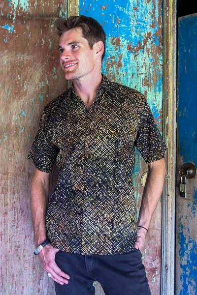 Men's cotton batik shirt, 'Night Starfield' - Hand Dyed Batik Short Sleeve Shirt for Men from Bali