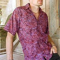 Men's cotton batik shirt, 'Purple Jungle'