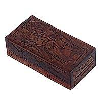 Wood box, 'Rama and Sita' - Ramayana Romantic Hand Carved Sono Wood Box