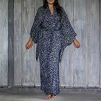 Rayon batik robe, 'Borneo Slate' - Womens 100% Rayon grey and Black Kimono Sleeve Long Batik Ro
