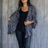 Rayon kimono jacket, 'Borneo Slate' - Women's Black and Grey Batik Print Rayon Jacket