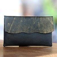 Leather clutch handbag, 'Stylish Black'