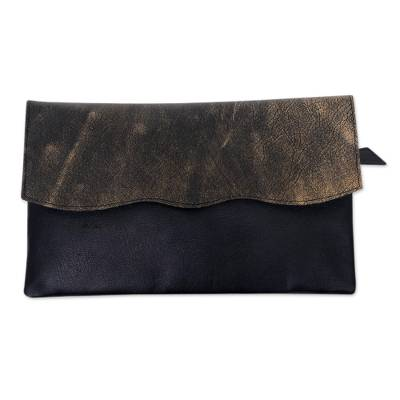Leather clutch handbag, 'Stylish Black' - Ivory Accent Handcrafted Black Leather Clutch from Bali