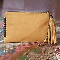 Leather wristlet bag, 'Cool Caramel' - Balinese Handcrafted Light Brown Leather Wristlet Purse