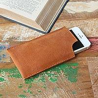 Leather iPhone 5 sleeve, 'Classic in Brown' - Minimalist Brown Leather Handcrafted iPhone 5 Sleeve