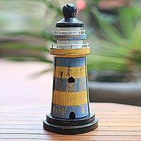 Wood key cabinet, 'Rustic Beacon' (11.5 inch) - Blue and Yellow Wood Lighthouse Key Cabinet (11.5 Inch)
