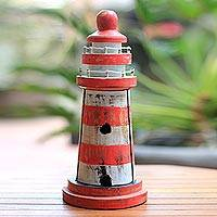 Wood key cabinet, 'Red and White Beacon' (11.5 inch) - Lighthouse Theme Red and White Wood Key Cabinet (11.5 Inch)