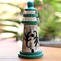 Wood key cabinet, 'Lighthouse Lizard' (11.5 inch) - Gecko Theme Lighthouse Key Cabinet Handcrafted (11.5 Inch)