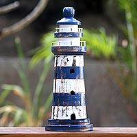 Wood key cabinet, 'Blue Lighthouse' (19 inch) - Handcrafted Blue Lighthouse Key Holder (19 Inch)