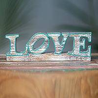 Wood sculpture, 'Love in Green' - Distressed Wood Pop Art Style Inspirational Love Sculpture