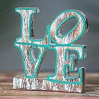 Wood sculpture, 'Iconic Love in Green' - Iconic Love Distressed Wood Sculpture 70s Style Pop Art
