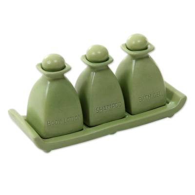 Handcrafted Green Ceramic 4 Piece Bath Accessory Set