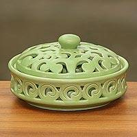 Ceramic covered candy dish, 'Jatiluwih Green' - Handmade Light Green Ceramic Candy Dish and Lid