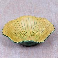 Ceramic fruit bowl, 'Hibiscus Flower' - Handmade Ceramic Bowl in Shape of Hibiscus Flower