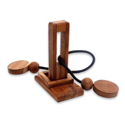 Teakwood puzzle, 'Yogya Tower' - Natural Teakwood Pub Game Style Puzzle from Indonesia