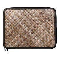 Pandan leaf laptop sleeve, 'Uluwatu Pandan in Loden' (13 in) - Artisan Made 13 Inch Laptop Sleeve Woven from Pandan Leaves