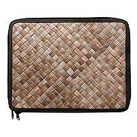 Pandan leaf laptop sleeve, 'Uluwatu Pandan in Black' (15 in) - Envelope Style Woven Pandan Leaf 15 Inch Laptop Case