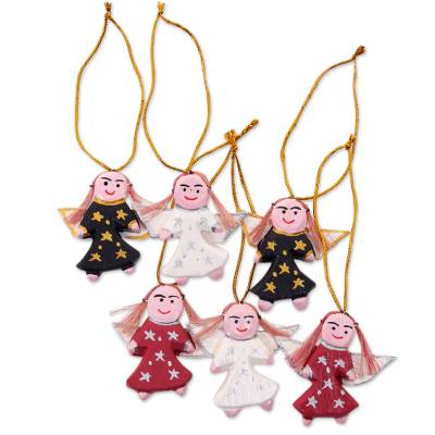 Wood ornaments, 'Angel Troupe' (set of 6) - Handmade Wood Angel Ornaments from Bali (Set of 6)