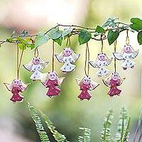 Wood ornaments, 'League of Angels' (set of 8) - Artisan Crafted Wood Ornaments with Angel Theme (Set of 8)