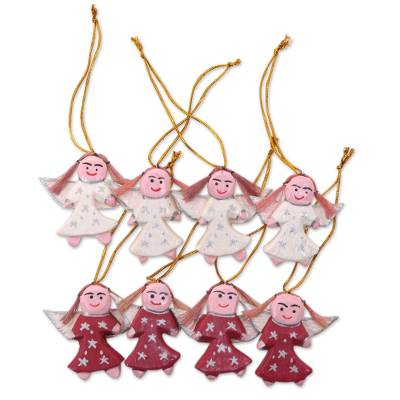 Artisan Crafted Wood Ornaments with Angel Theme (Set of 8)
