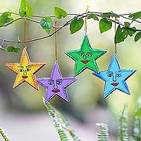 Wood ornaments, 'Star Friends' (set of 4) - Star Shaped Wood Holiday Ornaments Made by Hand (Set of 4)