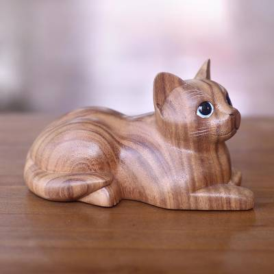 Wood sculpture, 'Short Haired Cat' - Hand Carved Wood Cat Sculpture from Balinese Artisan