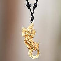 Bone pendant necklace, 'Alligator' - Carved Bone Alligator Pendant Necklace on Leather Cord