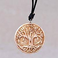 Bone pendant necklace, 'Sacred Tree' - Leather Cord Necklace with Bone Tree of Life Pendant