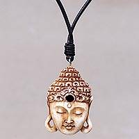 Bone pendant necklace, 'Buddha Head I'
