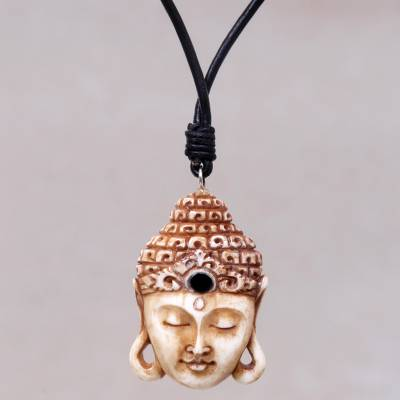 Bone pendant necklace, 'Buddha Head I' - Buddha Pendant Necklace in Carved Bone with Leather Cords