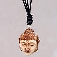 Bone pendant necklace, 'Buddha Head II' - Buddha Head Necklace in Carved Cow Bone and Leather
