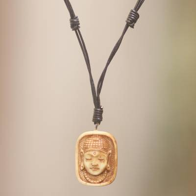 Bone pendant necklace, 'Buddha Head III' - Artisan Crafted Bone Pendant Necklace of Buddha Head